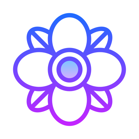 Spa Flower icon in Gradient Line