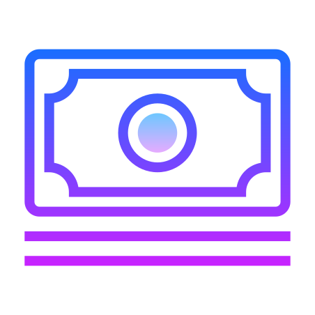 Stack of Money icon in Gradient Line