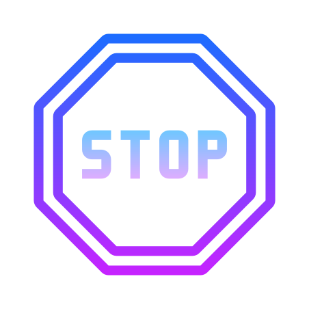 Stop Sign icon in Gradient Line