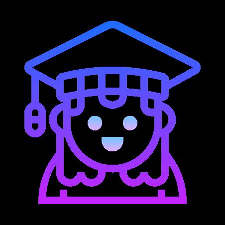 Graduate icon in Gradient Line