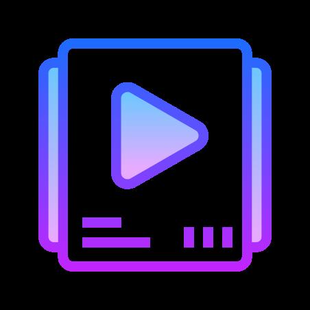 Video Playlist icon in Gradient Line