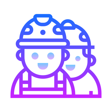 Workers icon in Gradient Line
