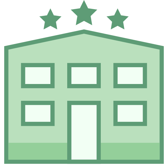 Hotel Star icon. This is a picture of a hotel with eleven small windows and a door in the bottom center. there are three stars on the very top of the hotel, showing the rating of it.