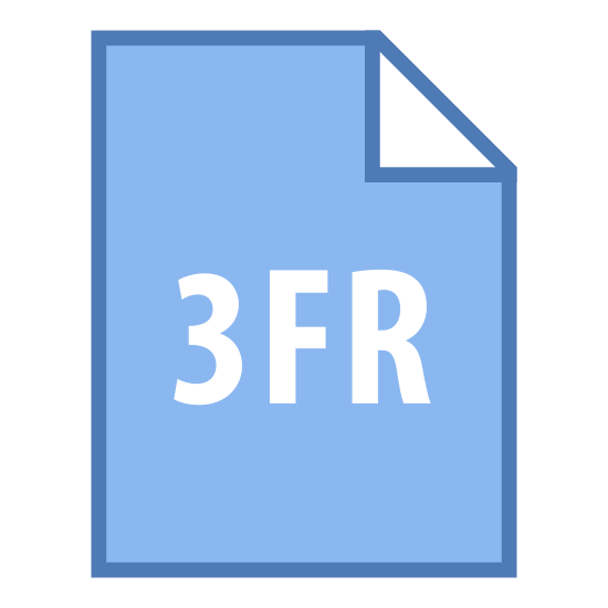 3FR icon. This image is something seen on computer icons dealing with documents.  This icon looks like a portrait orientated pace of paper with its upper-right corner folded down a few inches.   On the middle of this paper icon is the text '3FR'