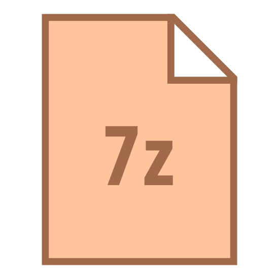 """7-Zip icon. There is a rectangle, that is long vertically. The upper right corner is folded down into a triangle, representing the paper being dog-eared. In the middle of the rectangle is the text, """"7z."""""""