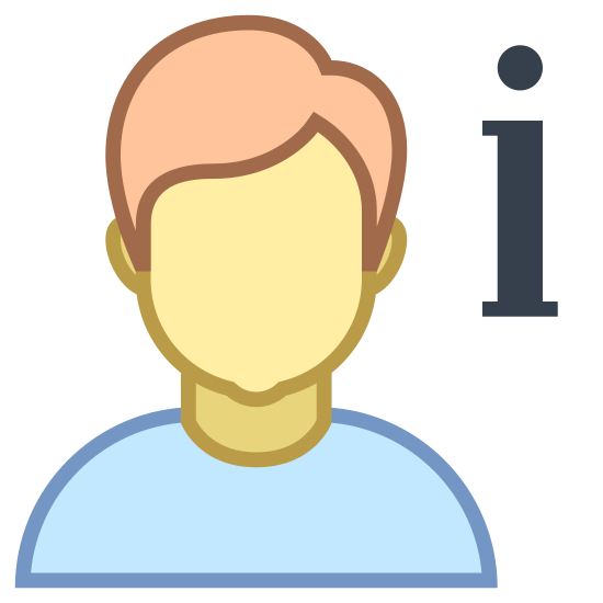 More Info icon. The About Us icon is an outline of a man's head, neck and shoulders with a lower case i to the right.