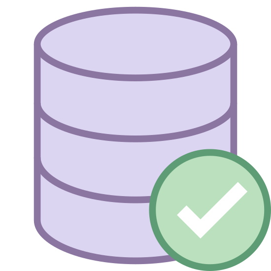 Zaakceptuj bazę danych icon. The icon is a cylinder of three 3-d discs stacked on top of each other. Each disk is the same size. In front of the disks, and partially obscuring the right of the bottom two disks is a circle with a check mark in the center of it.