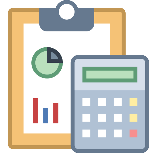 Accounting icon. This is a picture of a clipboard with graphs on it. one graph is a pie chart and the other is a line chart. directly in front of the clipboard is a calculator with nine buttons and a screen.