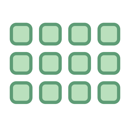 Siatka Aktywności 2 icon. It's an image of 16 rectangles, slightly longer than they are wide. The rectangles are placed in 4 rows of 4 columns, in such a way that the shape they make up when considered all together is also a rectangle.