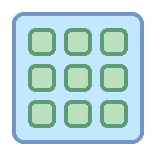 Data Grid icon. This looks like a grid. The grid is four by four, sixteen squares total. The squares on the corners are rounded.