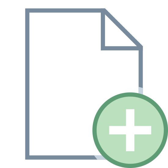 Dodaj plik icon. This icon looks like a piece of paper, but the top right corner has a single fold toward the center as if someone has just turned over the edge with their fingers and in the bottom right corner there is a 'plus sign' inside a circle.
