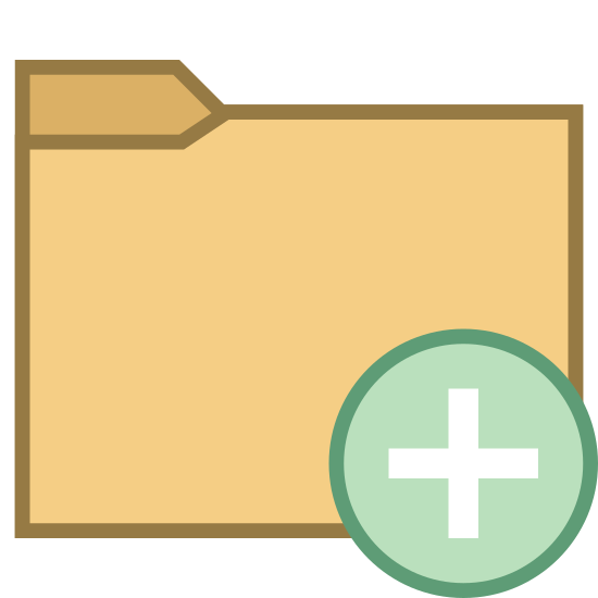 "Add Folder icon. It's a drawing of a file folder with a plus sign enclosed in a circle covering the lower right corner. It is similar to the symbol for ""add folder"" in the Windows operating system."