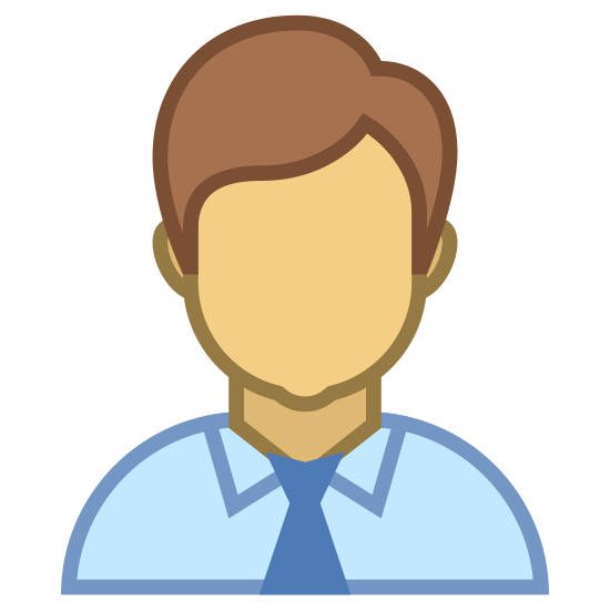 Administrator Male icon. The image is of a male person. The man has short hair and ears but does not have a face. The only part of the body shown besides the head is the upper shoulders. The person is wearing a collared shirt with a tie.