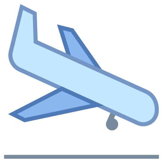 Lądowanie samolotu icon. This is a picture of an airplane that is flying downwards towards the right. The tail of the plane is pointed upwards, and it looks like it's about to land. You can see the bottom wheel already out in the front of it.