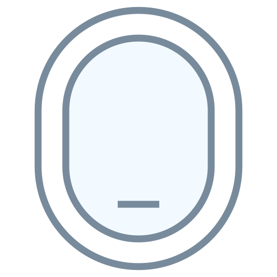 Airplane Window Closed icon. This icon represents airplane window closed. It is an oval shape with a ring around the outside and a smaller ring on the inside. It has one small straight line across the bottom of the oval in the middle.