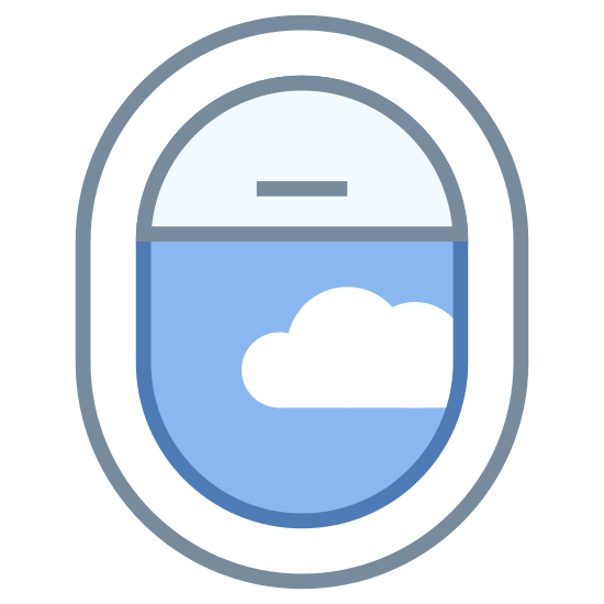 Airplane Window Open icon. There is a oval shaped object. there is a line that is horizontal at the top. there is another line right below it. below that there is a cloud shaped object