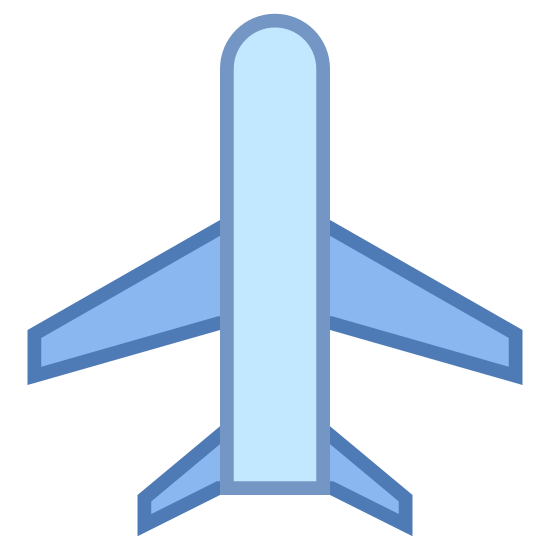 Lotnisko icon. It's a small airplane.  The body of the plane is long and narrow.  The head of the plane is pointing up and to the right, but on an angle.  The plane has two wings with flat ends and a tail.