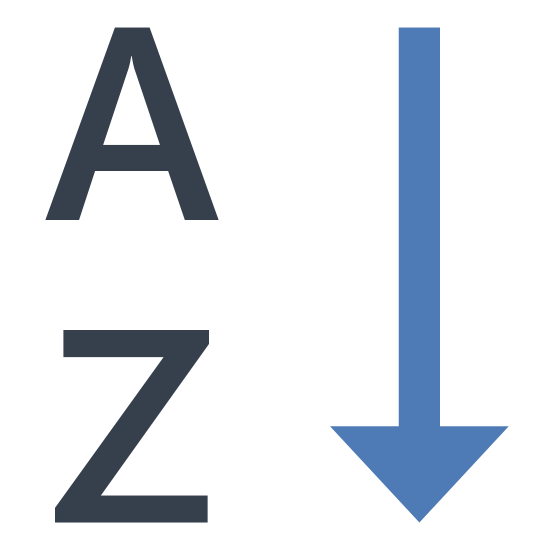 Alphabetical Sorting icon. This icon shows alphabetical order. The downward arrow show that it is going in order from A to Z.