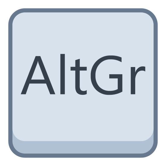 Altgr icon. An Alternative Graphic sign, shortened to AltGr. The sign is emplaced within a squarish box with rounded corners. It looks like a standard AltGr keycap on some English language keyboards.