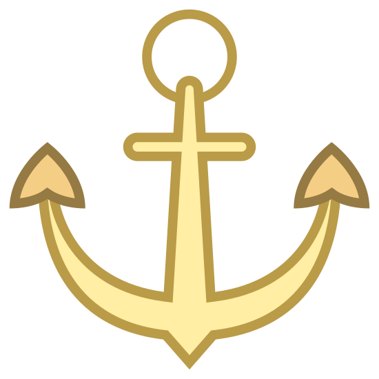 Anchor icon. It's a logo of an anchor and has a circle with a hole in it on top with lines going down and outward from that circle. There are triangular shapes at the end of these lines and a smaller rectangle beneath the circle as well.