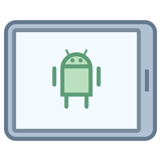 Tablette Android icon. It's an icon of a smartphone laying horizontally. The Android alien logo is on the screen.