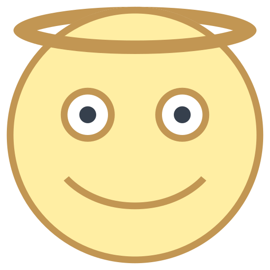 Angel icon. The Angel icon is composed of a circle that appears to be a smiling face. There are two small round circles for eyes and one upward curved line for the mouth. There is also another circle that forms a halo at the top of the head.