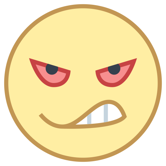 Angry icon. This is the Icon for Angry. It is a circle shaped face, with teeth showing in a half circle grimace. The eyes are ovals that are slanted downwards, with two lines above the eyes slanted downwards also that make up the eyebrows.