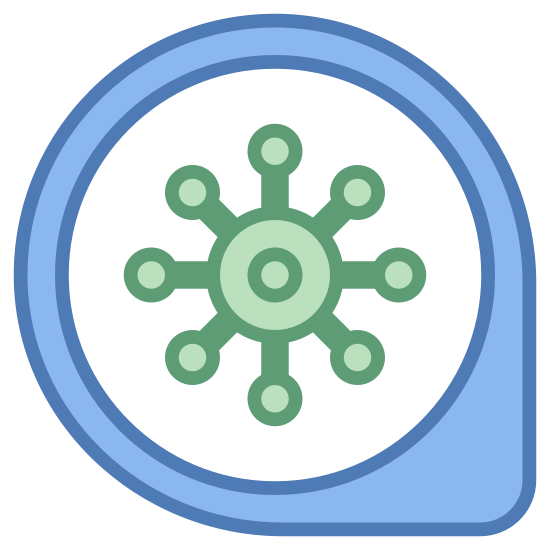 Antivirus icon. The icon is a picture of the logo Antivirus Scanner. The icon is what appears to be a large circle with a small arrow shape at the bottom right on the outside. The icon has a picture of something that I can only describe as a microscopic germ in the center.