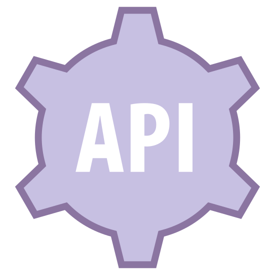 Ustawienia interfejsu API icon. There is a cork typed shape. there are many different angles to this object but inside of it, it says API in large font. the shape resembles cogs in a machine