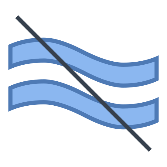 Około nie równe icon. There are two wavy parallel lines that run from left to right.  There is a straight line striking through both of them.  This line runs from the top left down to the bottom right.