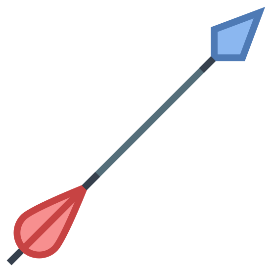 Strzała łucznicza icon. It's the image of an arrow that is flying up into the air. It is the type of an arrow that would be shot from a bow. The tip of the arrow is diamond shaped, and the base of the arrow has feathers.