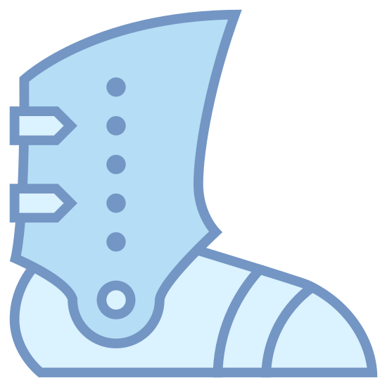 Armored Boot icon. This is a boot that is enhanced with metal to make it armored. The boot covers the entire foot from toe to heel. Attached to the foot covering portion of the boot is more armor that extends just above the ankle bone and has a spot to pivot forward and backward.