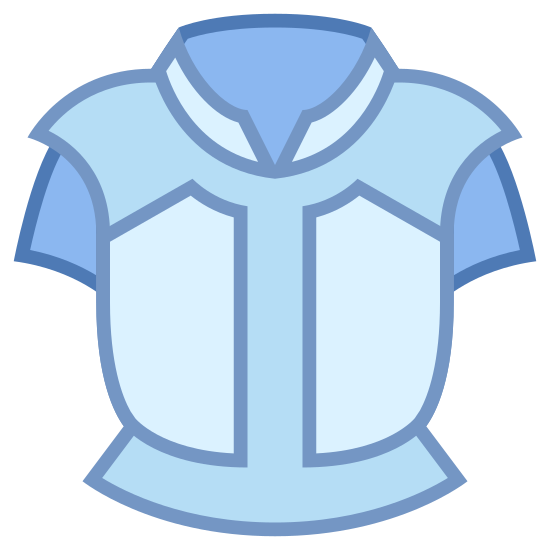 Pancerny Napierśnik icon. There is a single object that looks like a breastplate, or a t-shirt without any arms and a large collar. There is some detailing to the shoulder area where extra lines are placed, and the same around the area where the waist would be.