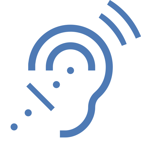 Помощь для слабослышащих icon. This logo is shaped like a an ear kind of. There are some dots in the ear and leading up to the ear from the bottom left. To the top right there are a couple of lines that are representing noise of some kind.