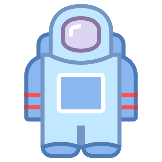 Astronaut icon. This is a picture of an astronaut with a helmet on. you cannot see their face, but you can see their backpack and what appears to be jet engines on the bottom of it. the astronaut has a square on his suit.