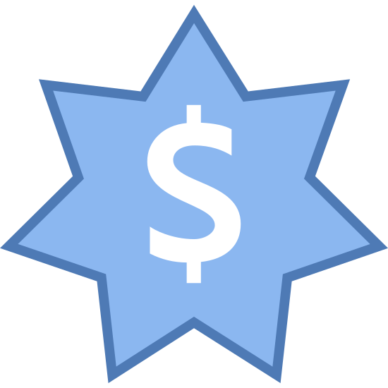 Australian Dollar icon. There is a seven-pointed star shape starting with a point at the top, and with three points evenly down each side. and in the center of it is a money symbol. The lines of the symbol are black and there are no other colors.