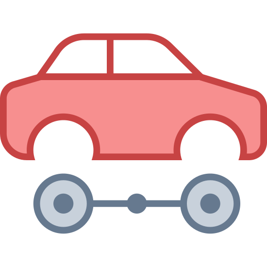 Motoryzacyjny icon. The icon is a small car with the wheels missing. Right below this car is two wheels and it looks to be separated from the car. The wheels are joined together by a long rod.