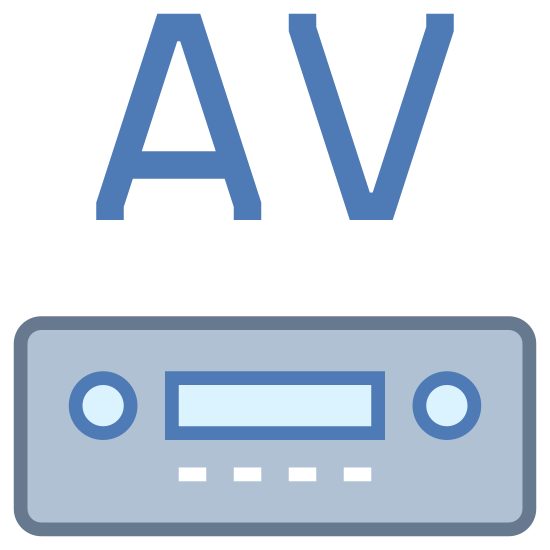 """AV Receiver icon. This is a picture of a machine almost like a VCR or DVD player that has two knobs, a place to put a disc, and four buttons on the bottom of it. on top of the machine are robotic looking letters """"AV"""""""