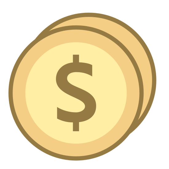 Average 2 icon. The icon a picture of average 2. The icon is in the shape of two circles. The icon is what appears to be two coins. The coin in front of the other one, has a dollar sign symbol right in the middle of it.