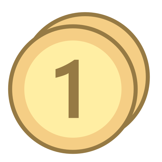 "Średnia cena icon. This icon is a small circle with another circle behind it.  The first circle has the number ""1"" in the center of it.  You cannot see the circle behind the first circle.  It looks like it could be a 3D cylinder."