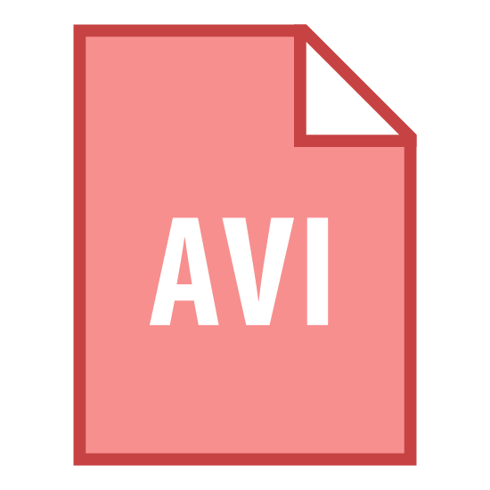 AVI icon. The icon shows a sheet of paper with a folded right corner that would represent a document stored on a computer. The sheet of paper has the letters AVI displayed prominently in large print.