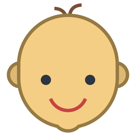 Chambre de bébé icon. This icon shows a baby's head. It's a simple black outline of a smiling baby head with a couple of hairs pointing up.