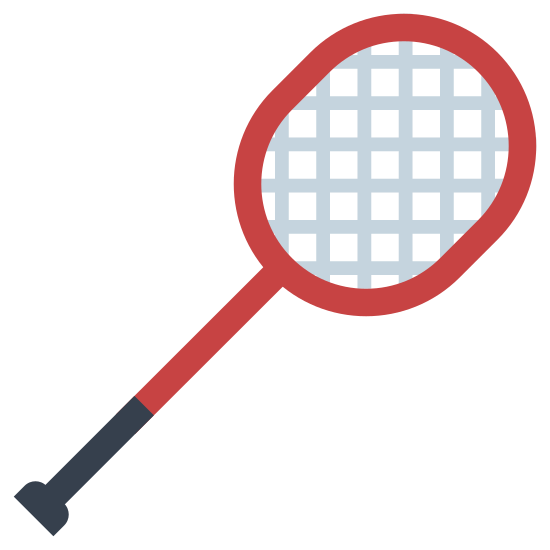Rakieta do badmintona icon. The icon looks like an outlined tennis racket shape. It is at an angle, with the handle pointing to the lower left. The paddle part of the racket is made up of seven lines crossing the shorter part, and four lines down the longer part towards the handle, giving the appearance of mesh.