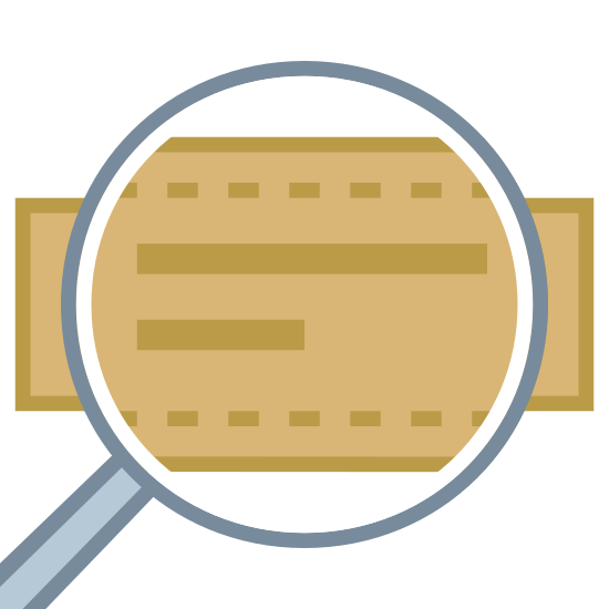 Marka torby icon. The image is a rectangle with a magnifying glass in front of it making the magnified part bigger. On the rectangle, there are two horizontal lines on top of each other. The line on the top is longer than the one underneath.