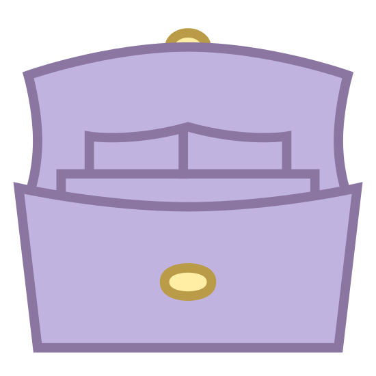 Bag Interior icon. This icon represents the interior of a bag. There is a bag with a button on the front of it with part of a rectangle showing. There are also two smaller rounded rectangles behind the other larger one.