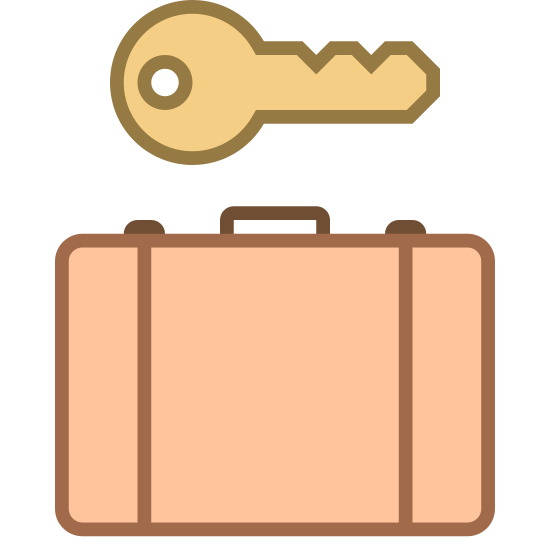 Szafki na bagaż icon. There is a suitcase in front of a square. There is a key hovering above the square. Its teeth are pointing to the right.