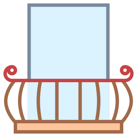 Balcony icon. This icon represents a balcony. It is includes a square shape at the top with cross lines in it representing a window. The window leads down into a rectangle shape with eight lines and two rounded hooks on each side.