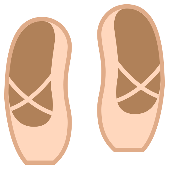 Baletki icon. The icon is a pair of ballet shoes. It has a decorative cross shaped pattern around the surface of the top of the foot.