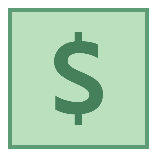 Bank icon. This icon consists of a square with a dollar sign in the middle of it. The dollar sign is in the shape of a capital letter S, with very small lines sticking out of the very top and bottom of the curves of the S.