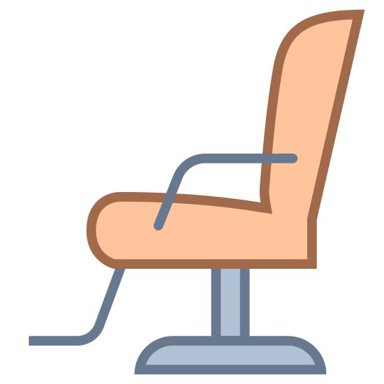 Silla de peluquero icon. This is a barber chair. It has a foot rest coming form the bottom of the seat, like what you would see at a barbershop.